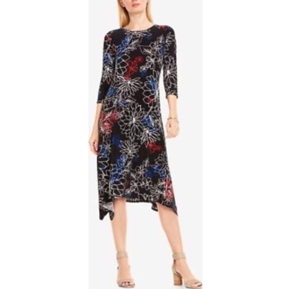 b45cd211aaf1 Vince Camuto black floral jersey midi dress. M 5c5e0ca6c89e1d8e8c5f786f